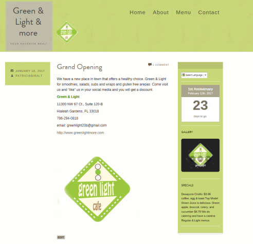 Home Page green Light